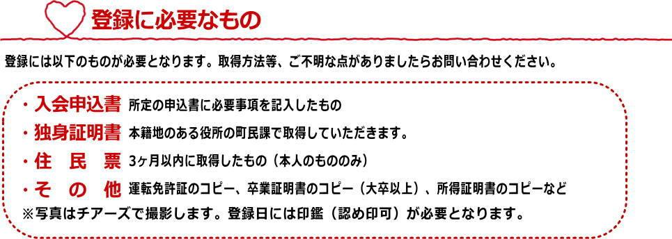 矢掛町:登録に必要なもの
